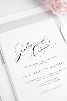 Romantic vintage glam wedding invitations in silver with an adorable polka dot envelope liner!