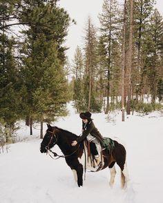 Trail riding through a magical winter wonderland with Cherokee @theresortatpawsup #BTinGlacierMT #GlacierMT #Montana