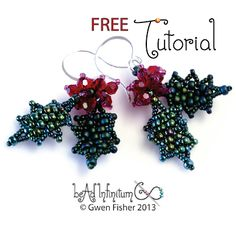 gwenbeads: Free PDF - Holly Leaf & Berry Earrings. #Seed #Bead #Tutorials