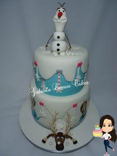 Bolos de Pasta Americana - Bolos Personalizados - Gabriela Lemos Cakes: Bolo Frozen - Olaf - Sven