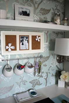DIY home office with pretty wallpaper, a floating shelf and IKEA pen and pencil holders!