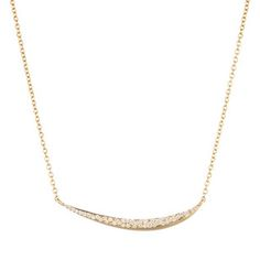 Gold Marquis Pavé Diamond Cresent Necklace in 18k Gold