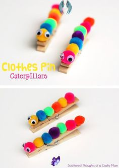 christmasclothes Easy Kids Craft:  Make these Darling Clothes Pin Caterpillars out of pom poms, c... - Diy & Crafts #christmas #clothet #womenfashion<br> Kids Crafts To Sell, Easy Diy Crafts, Diy For Kids, Fun Crafts, Kids Craft Kits, Spring Crafts For Kids, Beach Crafts, Recycled Crafts, Resin Crafts