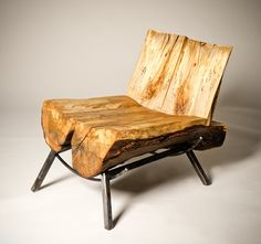 Funky Silver Ghost Chair. Salvaged storm-damaged live edge Silver Maple log by SouthStBoatbuilders.