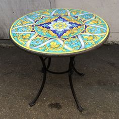"""31'5"""" Round. Intricate Geometric Scrolls and Ribbons on Teal"""