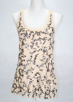 f17cacd4dff50f Express Women s Top Tank Cami Sequin Embellished Lined Clubwear Evening  Party S