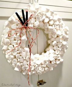 Top 10 Christmas Wreath Ideas - including how to make this fun marshmallow wreath!  eclecticallyvintage.com