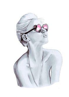 Amazing drawing | Pink reflection sunglasses