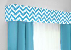 Chevron Cornice Board Aqua Blue and White- Valance Window Treatment - Custom Curtain Topper in Modern Zig Zag Fabric