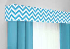 Chevron Cornice Board Aqua Blue and White- Valance Window Treatment - Custom Curtain Topper in Modern Zig Zag Fabric