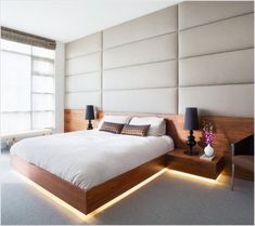 Astounding Floating Bed Design comes with Brown Color Wooden Floating Bed and Wooden Platform Bed With Led Lights Underneath