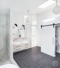 Before and After: Three Bold, Black and White Bathroom Renovations – Homepolish Mold In Bathroom, Old Bathrooms, Laundry In Bathroom, Bathroom Faucets, Small Bathroom, Plum Bathroom, White Bathrooms, Laundry Area, Bathroom Hardware