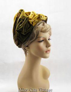 1960s velvet swirled peak hat by Trebor