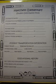 Classroom materials: 1st day of school  Quick reference sheet