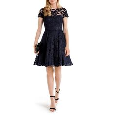Ted Baker Caree Floral Lace Dress ($459) ❤ liked on Polyvore featuring dresses, navy, white dress, white lace dress, navy floral dress, navy dress and white lace cocktail dress