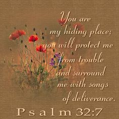 Psalm 32:7 ~ Thank You Lord, You are indeed my hiding place ~~ You are the song in my heart.  Lord I love You so!!