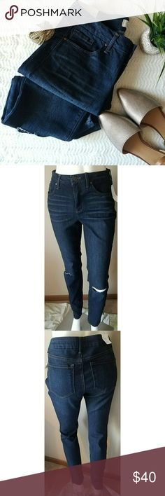 Jessica Simpson Curvy High Rise Skinny Jeans Dark blue skinny jeans by Jessica Simpson. Jeans have a high rise & distressing at the knee. Size 29, approximately 14.75 in waist lying flat, 30 in inseam. 56% cotton, 22% polyester, 21% viscose, 1% elastane. Shoes pictured available in my closet! Jessica Simpson Jeans Skinny