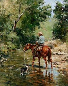 """John Austin Hanna - """"Cooling Their Heels"""" -Oil on Canvas  30 x 24 - This painting was submitted to The Briscoe Western Art Museum Show and Sale in San Antonio, Texas.  The opening is Saturday, March 23, 2013."""