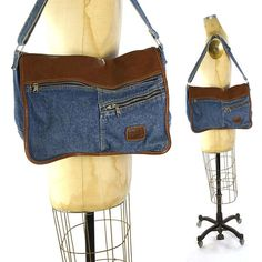 90s Denim Messenger Tote Bag Vintage 1990s Large Vegan Cotton Hobo Bag with  Pockets and Adjustable 76c66326a7207