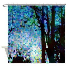 Artistic Shower curtain -  Blue Raspberry Jelly Bean Skies -Teal, Aqua, blue, trees, sunset, landscape, decor, bath, home