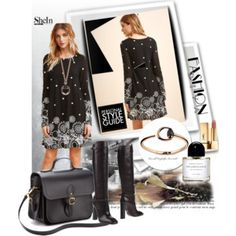 Black Retro Circle Print Tunic Dress