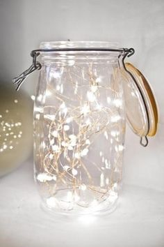 Fairy lights in mason jar or candles in them for table decor? Fairy lights in mason jar or candles in them for table decor? Fairy Lights In A Jar, Jar Lights, Led String Lights, Light String, Battery Lights, Room Lights, Pot Mason Diy, Mason Jars, Glass Jars