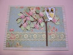 Owl on Branch handmade card for grandmother, grandma