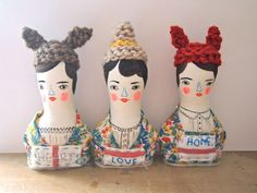 Jess Quinn - Folk dolls soft sculpture hand painted