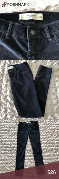 """NWOT Abercrombie Corduroy Skinny Pants Gorgeous navy corduroy skinny pants that I just never got around to wearing.  Front pockets are sewn but the back pockets are functional.  Size 2, 29"""" inseam. Abercrombie & Fitch Pants Skinny"""