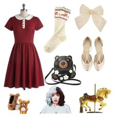 """""""CAROUSEL BEAR"""" by ukafa on Polyvore featuring Mode, Myrtlewood, Kimchi Blue, CO, Sleepyville Critters und plus size dresses"""