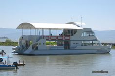 The Batur cruise boat docked in Chapala. It does mostly sunset cruises on Lake Chapala in Mexico.