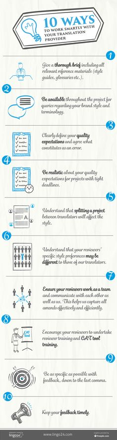 For those new to working with #translation providers, or even those more familiar with it, there are always ways to make the relationship more positive and productive. At Lingo24 we like to be as supportive as we can with our customers to help them understand our processes – leading to a better experience for both of us. We've compiled a simple #infographic with 10 simple ways to have a smarter relationship with us…