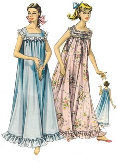 c87fb10c22 Vintage 1940 s Sewing Pattern Frilly Long Nightgown Nightdress Nightie Bust  38