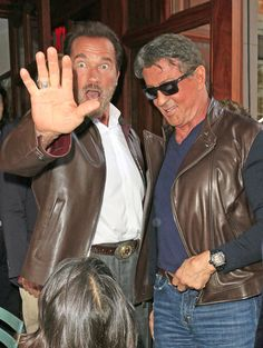 Arnold Schwarzenegger and Sylvester Stallone -- Arnold Schwarzenegger and Sylvester Stallone: Talk to the hand! (10/14/13) Credit: Splash News