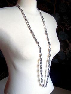 Large clear Rhinestones pave set in lower half of chain. Sturdy lobster clasp, with a maker tag marked C.G Great Vintage condition. Real elegant yet bold! Vintage Silver, Serenity, Buy And Sell, Glamour, Chain, Elegant, Handmade, Stuff To Buy, Etsy