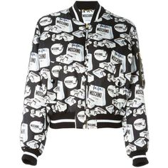 Moschino shopping print bomber jacket ($1,605) ❤ liked on Polyvore featuring outerwear, jackets, black, flight jacket, black jacket, stand collar jacket, silk bomber jacket and moschino