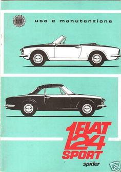 Another technical drawing style that seems a bit more rather than abstract/linear. 1967 First edition instruction manual Fiat 124 AS Spider Fiat 124 Sport Spider, Fiat 124 Spider, Alfa Romeo Spider, Fiat 500 Pop, New Fiat, Bike Illustration, Fiat Cars, Engin, Classic Motors