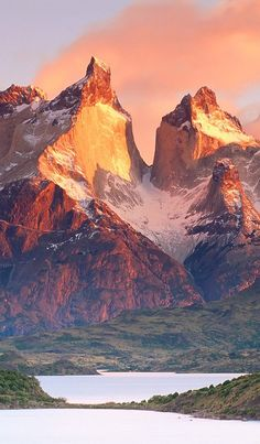 """**Los Cuernos in Torres del Paine National Park, Chile. Part of our """"W trek"""". Visit us at www.ecocamp.travel #mountains #landscapes #nature"""