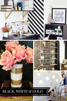 A chic black, white & gold office inspiration board. Check out more ideas and home inspiration at www.monicawantsit.com