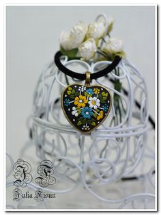 Heart Pendant Necklace Ukrainian Embroidery Floral by BiJuly