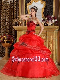 Red Strapless Pick-ups Appliques Ball Gown Dress for Sweet 15