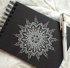 White Mandala sketch on Black Canvas
