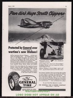 1943 WW II PAN AM Pan American Strato Clipper WWII WW2 General Tire AD