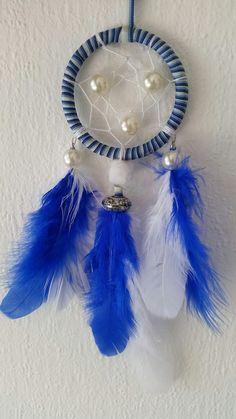 Mooie exclusieve kleine dromenvanger. Kleur blauwe en witte . Doorsnede 7cm.