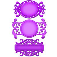 Fancy Tags Three - $19.99  - Approximate Die Template Sizes:    1: Oval: 2 x 3⅜″    2: Circular: 2 x 3¾″;    3: Rectangular: 1⅞ x 3⅛″