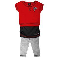 Atlanta Falcons Preschool Girls 2-Piece Crew T-Shirt & Leggings Set - Red/Black/Ash - $26.59