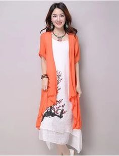 2018 New summer dress women clothing Small fresh long dress Fake two pieces Dress casual loose large size Vestidos Elbise Robe Women's Fashion Dresses, Casual Dresses, Short Dresses, Two Piece Dress Casual, Women Sleeve, Models, Chic Dress, Celebrity Dresses, Summer Dresses For Women