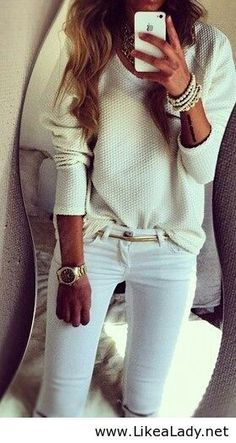 All white casual look! So cute for the winter and it'll make you blend in with the snow!(: