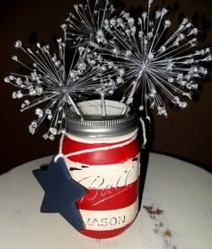 Patriotic Chalk -painted Mason Jar with Allium Fireworks! Head to my FB page Carol's Paint Creations for more pics and how-to.