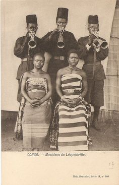 Vintage postcard, DR Congo, circa 1910. Musicians of Leopoldville. / past / old / photography